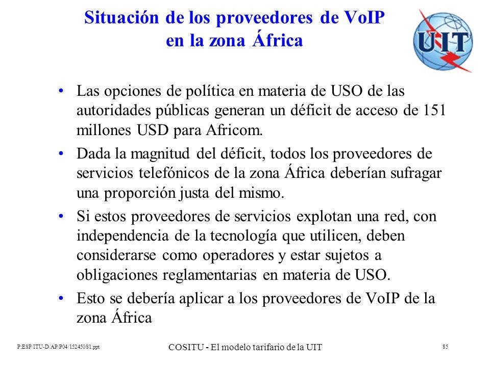 P:ESP/ITU-D/AP/P04/152450S1.ppt COSITU - El modelo tarifario de la UIT 85 Situación de los proveedores de VoIP en la zona África Las opciones de polít