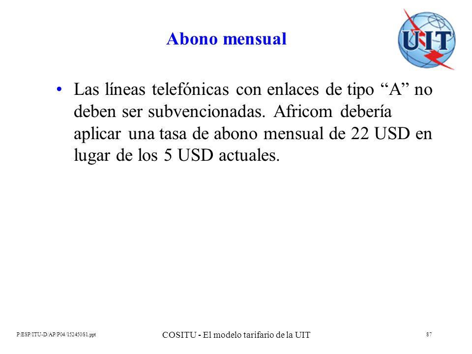 P:ESP/ITU-D/AP/P04/152450S1.ppt COSITU - El modelo tarifario de la UIT 87 Abono mensual Las líneas telefónicas con enlaces de tipo A no deben ser subv