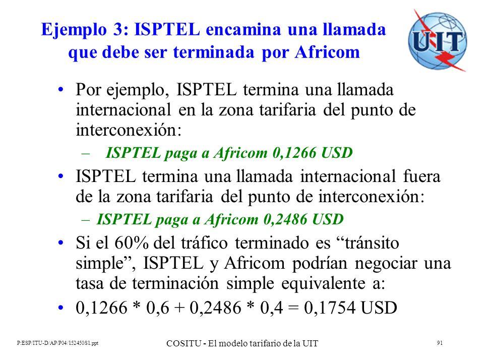 P:ESP/ITU-D/AP/P04/152450S1.ppt COSITU - El modelo tarifario de la UIT 91 Ejemplo 3: ISPTEL encamina una llamada que debe ser terminada por Africom Po