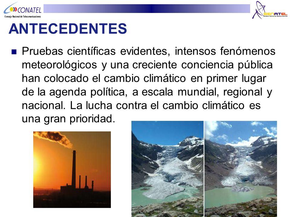 La UIT estima que las tecnologías de información y comunicación (TIC) contribuyen aproximadamente al 2,5% de las emisiones de gas de efecto invernadero en todo el mundo, anualmente.