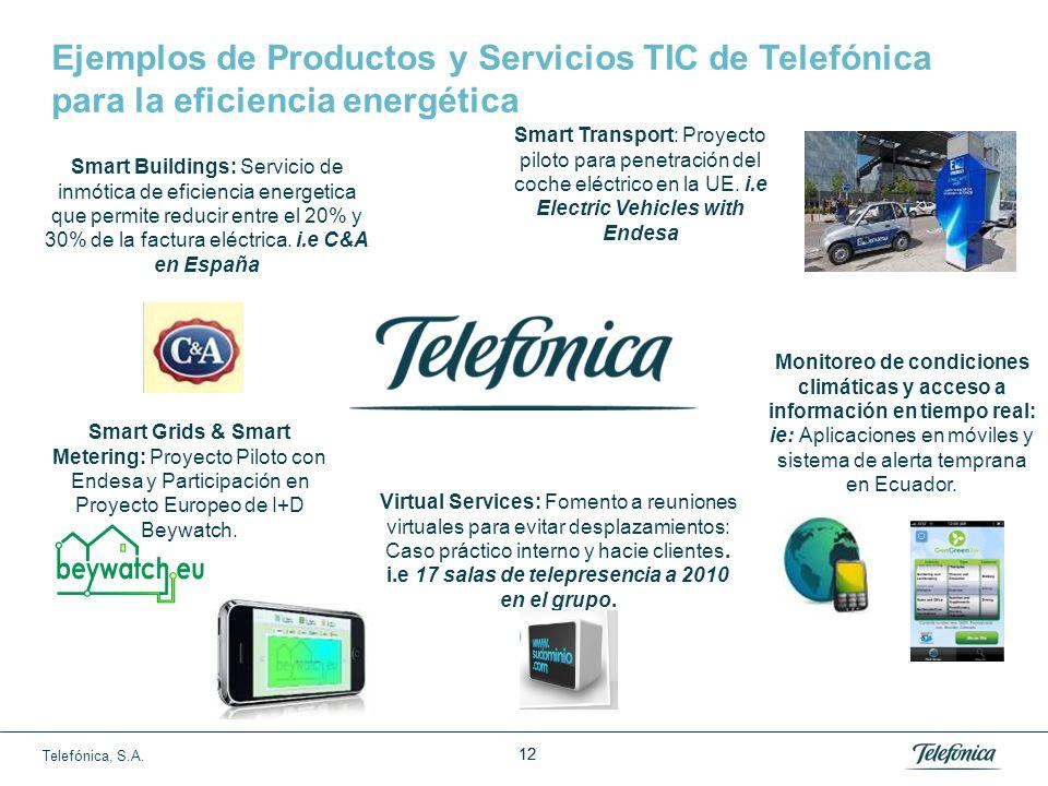 Telefónica, S.A. 11 Geo-Localizacion y Manejo de Flotas TICs y Cambio Climático Servicio Inmótica Hogar Digital SMART GRIDS TRANSPORTE SMART BUILDINGS