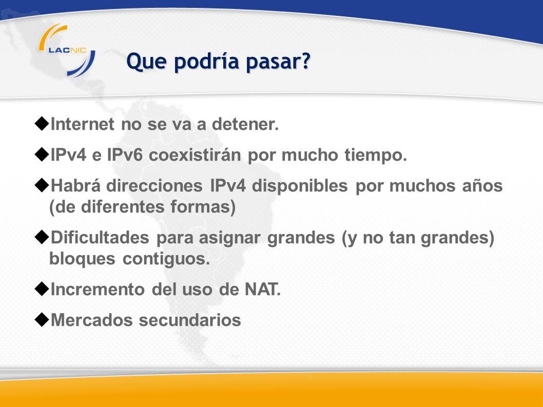 Que podría pasar. Internet no se va a detener. IPv4 e IPv6 coexistirán por mucho tiempo.