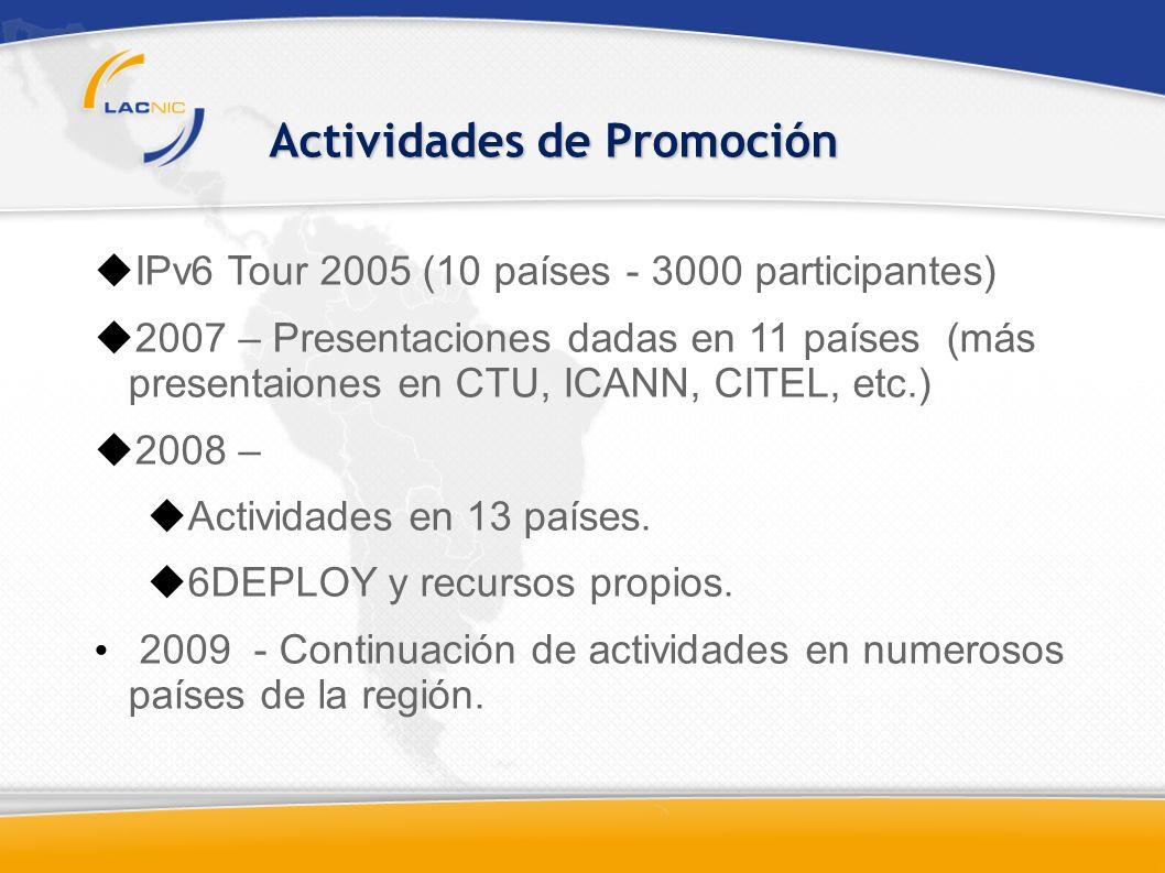 IPv6 Tour 2005 (10 países - 3000 participantes) 2007 – Presentaciones dadas en 11 países (más presentaiones en CTU, ICANN, CITEL, etc.) 2008 – Actividades en 13 países.