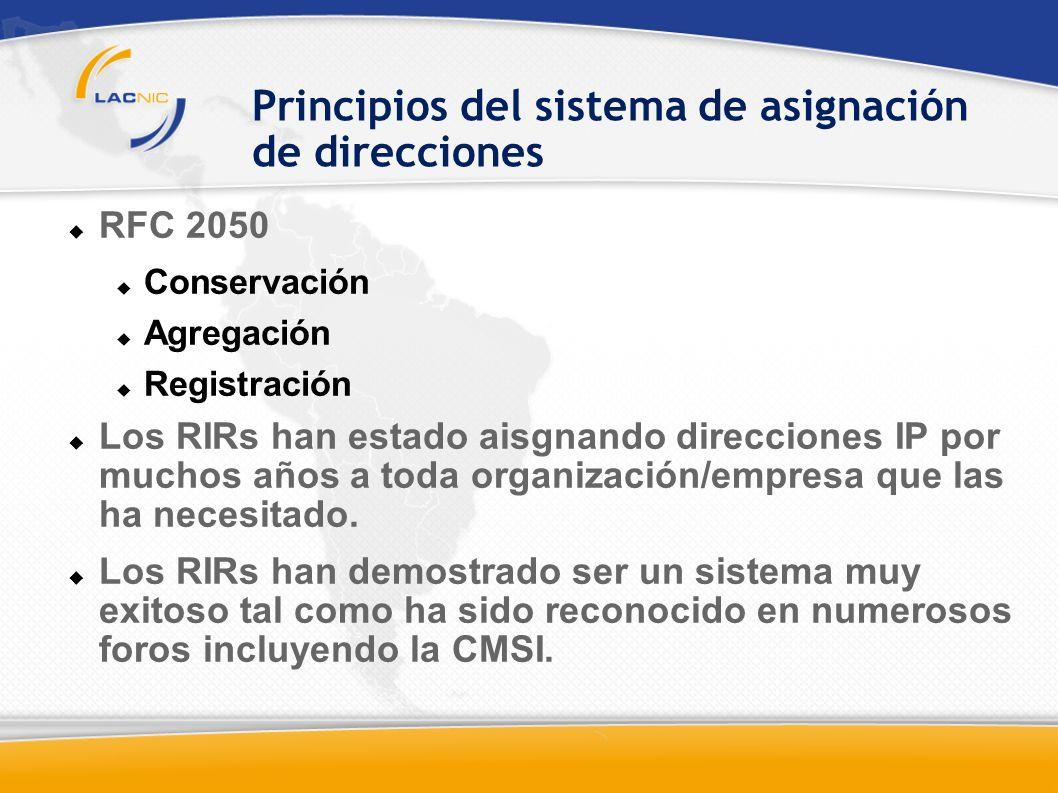 Principios del sistema de asignación de direcciones RFC 2050 Conservación Agregación Registración Los RIRs han estado aisgnando direcciones IP por muchos años a toda organización/empresa que las ha necesitado.