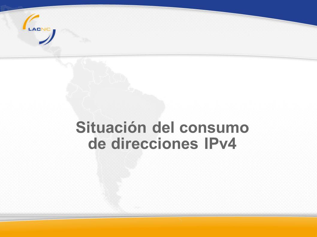 Actual distribución de direcciones IPv4 Unidad: /8. Un /8 = 1/256 del total de direcciones IPv4