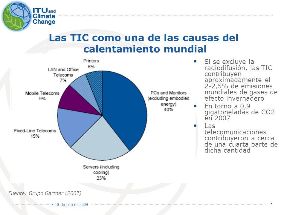 8-10 de julio de 2009 5 Las TIC como una de las causas del calentamiento mundial Si se excluye la radiodifusión, las TIC contribuyen aproximadamente e