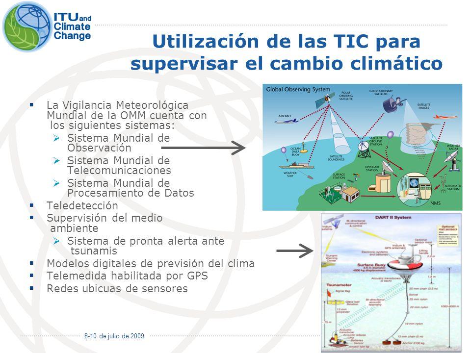 8-10 de julio de 2009 6 Utilización de las TIC para supervisar el cambio climático La Vigilancia Meteorológica Mundial de la OMM cuenta con los siguie