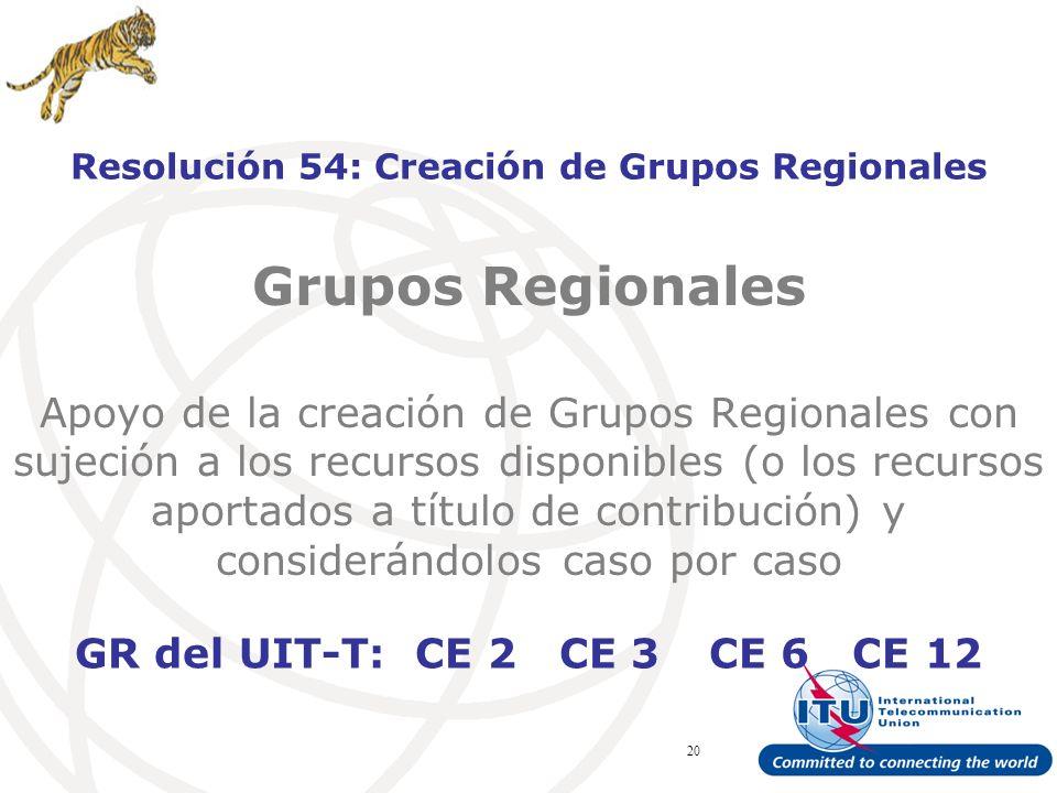 ITU Forum Bridging Standardization Gap – Brasilia, May 2008 20 Grupos Regionales Apoyo de la creación de Grupos Regionales con sujeción a los recursos disponibles (o los recursos aportados a título de contribución) y considerándolos caso por caso Resolución 54: Creación de Grupos Regionales GR del UIT-T: CE 2 CE 3 CE 6 CE 12