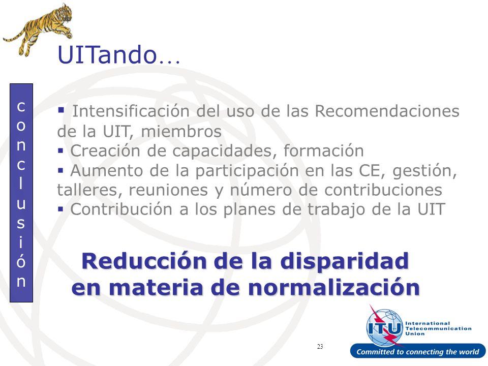 ITU Forum Bridging Standardization Gap – Brasilia, May 2008 23 conclusiónconclusión UITando … Intensificación del uso de las Recomendaciones de la UIT, miembros Creación de capacidades, formación Aumento de la participación en las CE, gestión, talleres, reuniones y número de contribuciones Contribución a los planes de trabajo de la UIT Reducción de la disparidad en materia de normalización