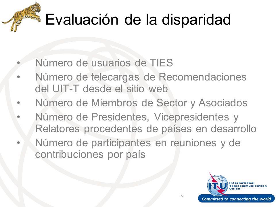 ITU Forum Bridging Standardization Gap – Brasilia, May 2008 5 Evaluación de la disparidad Número de usuarios de TIES Número de telecargas de Recomendaciones del UIT-T desde el sitio web Número de Miembros de Sector y Asociados Número de Presidentes, Vicepresidentes y Relatores procedentes de países en desarrollo Número de participantes en reuniones y de contribuciones por país