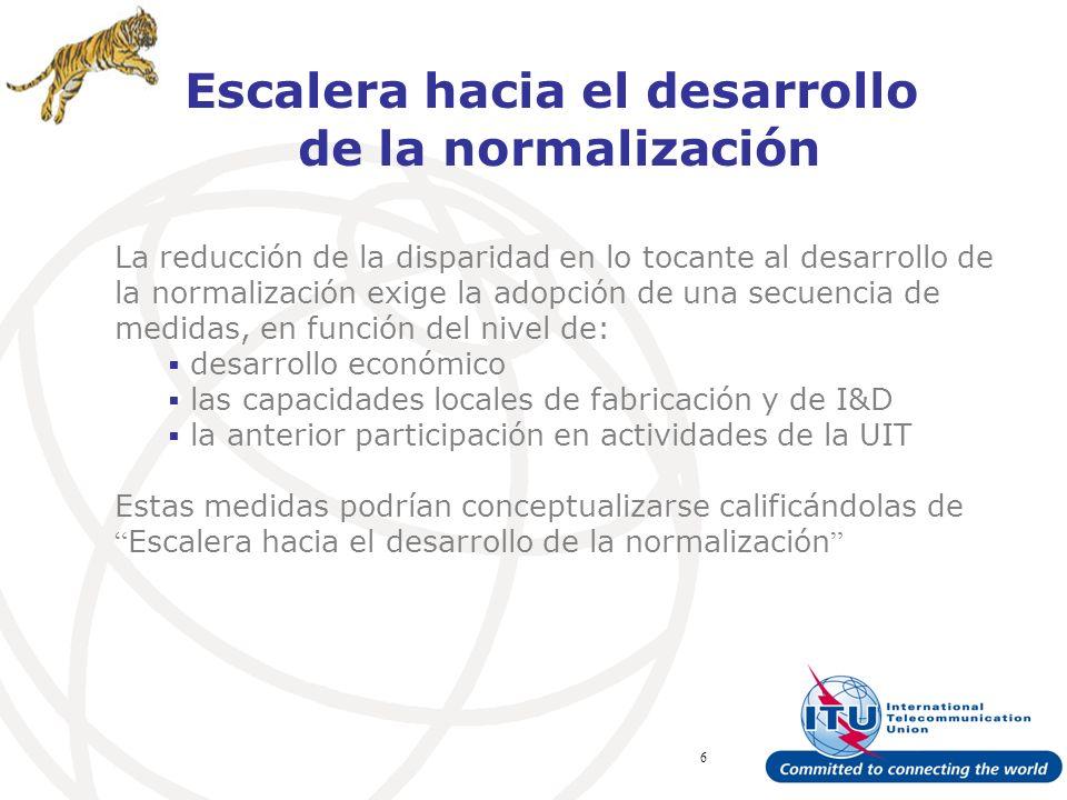 ITU Forum Bridging Standardization Gap – Brasilia, May 2008 6 Escalera hacia el desarrollo de la normalización La reducción de la disparidad en lo tocante al desarrollo de la normalización exige la adopción de una secuencia de medidas, en función del nivel de: desarrollo económico las capacidades locales de fabricación y de I&D la anterior participación en actividades de la UIT Estas medidas podrían conceptualizarse calificándolas de Escalera hacia el desarrollo de la normalización