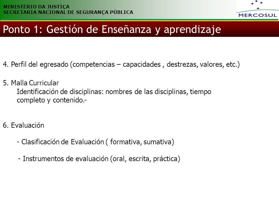 MINISTÉRIO DA JUSTIÇA SECRETARIA NACIONAL DE SEGURANÇA PÚBLICA 4. Perfil del egresado (competencias – capacidades, destrezas, valores, etc.) 5. Malla