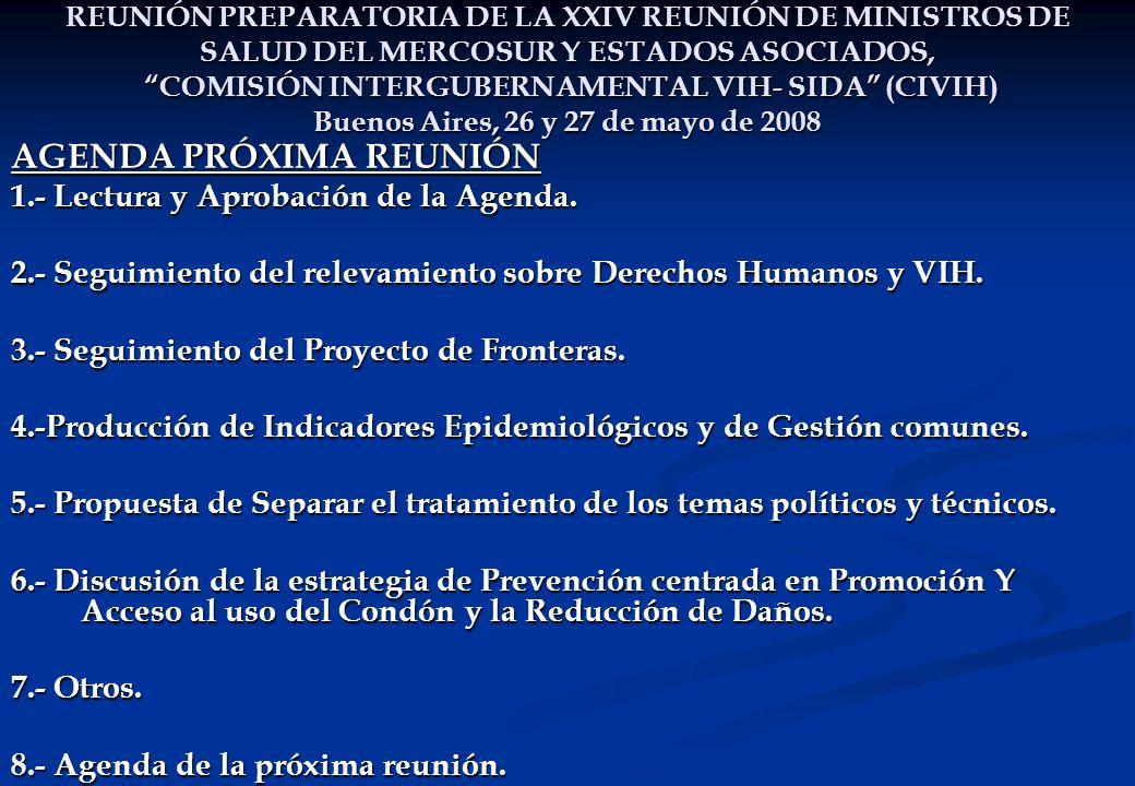 REUNIÓN PREPARATORIA DE LA XXIV REUNIÓN DE MINISTROS DE SALUD DEL MERCOSUR Y ESTADOS ASOCIADOS, COMISIÓN INTERGUBERNAMENTAL VIH- SIDA (CIVIH) Buenos Aires, 26 y 27 de mayo de 2008 AGENDA PRÓXIMA REUNIÓN 1.- Lectura y Aprobación de la Agenda.