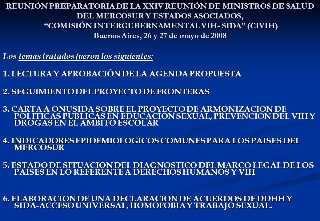 REUNIÓN PREPARATORIA DE LA XXIV REUNIÓN DE MINISTROS DE SALUD DEL MERCOSUR Y ESTADOS ASOCIADOS, COMISIÓN INTERGUBERNAMENTAL VIH- SIDA (CIVIH) Buenos Aires, 26 y 27 de mayo de 2008 Los temas tratados fueron los siguientes: 1.
