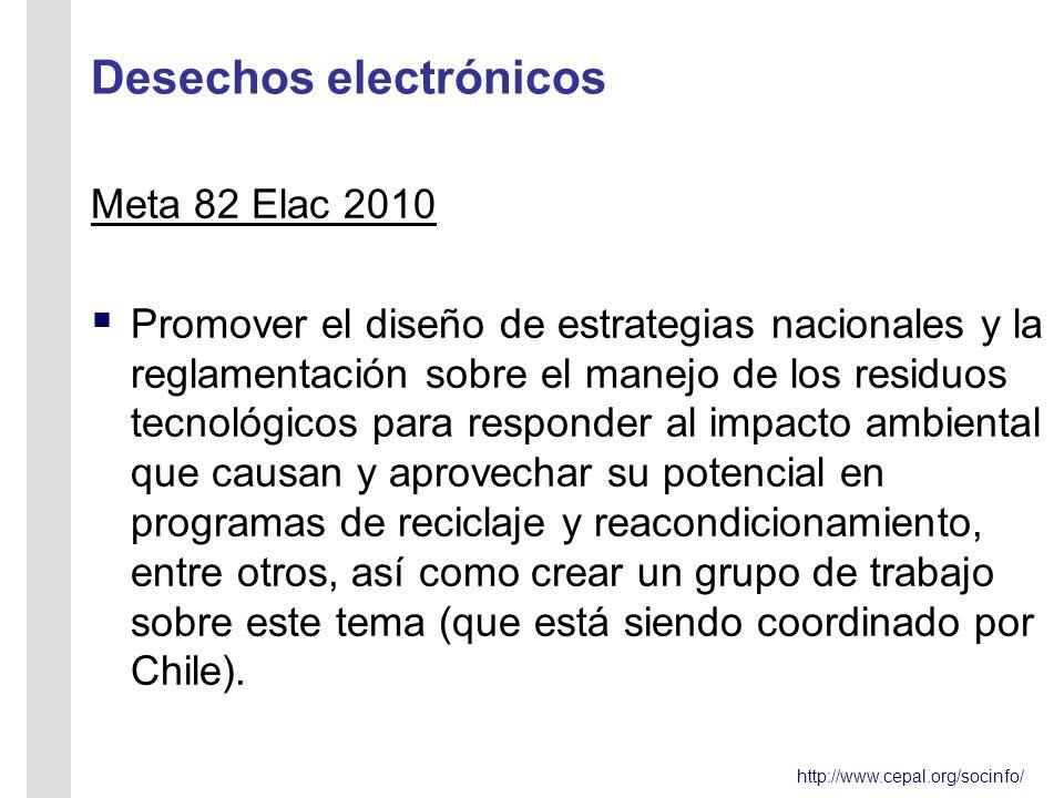 http://www.cepal.org/socinfo/ Desechos electrónicos Meta 82 Elac 2010 Promover el diseño de estrategias nacionales y la reglamentación sobre el manejo de los residuos tecnológicos para responder al impacto ambiental que causan y aprovechar su potencial en programas de reciclaje y reacondicionamiento, entre otros, así como crear un grupo de trabajo sobre este tema (que está siendo coordinado por Chile).