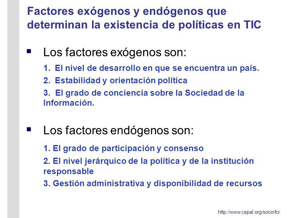 http://www.cepal.org/socinfo/ Factores exógenos y endógenos que determinan la existencia de políticas en TIC L os factores exógenos son: 1.El nivel de desarrollo en que se encuentra un país.