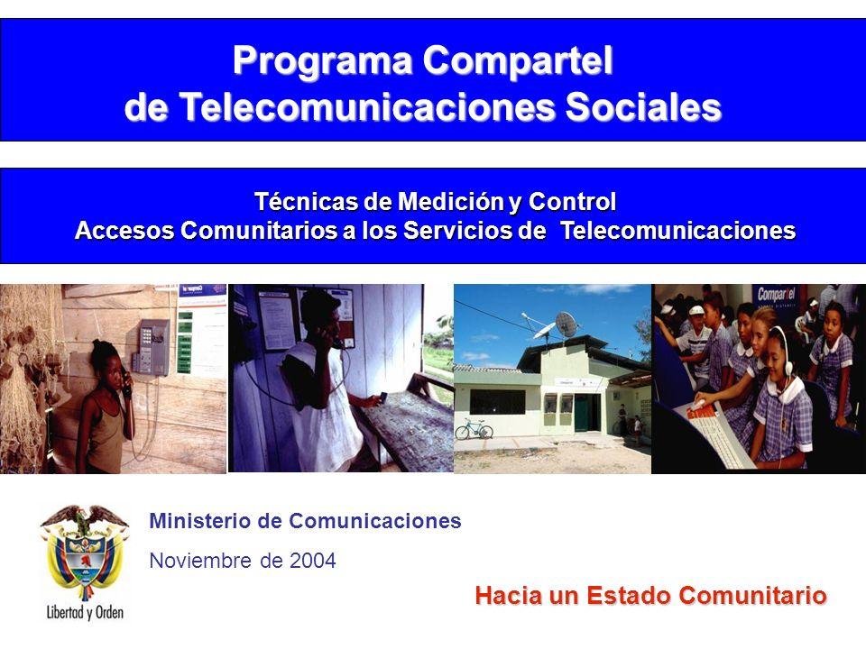 Ministerio de Comunicaciones Noviembre de 2004 Hacia un Estado Comunitario Programa Compartel de Telecomunicaciones Sociales Técnicas de Medición y Co