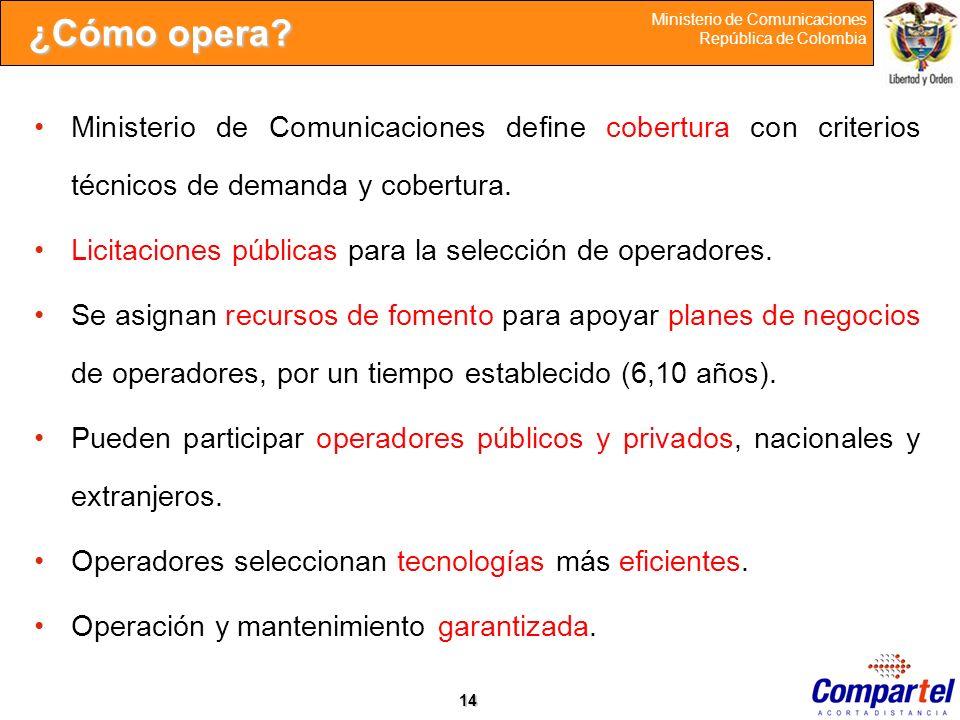 14 Ministerio de Comunicaciones República de Colombia ¿Cómo opera? Ministerio de Comunicaciones define cobertura con criterios técnicos de demanda y c