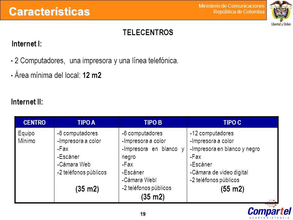 19 Ministerio de Comunicaciones República de Colombia Internet I: Características CENTROTIPO ATIPO BTIPO C Equipo Mínimo - 6 computadores - Impresora
