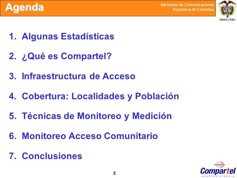 2 Ministerio de Comunicaciones República de Colombia Agenda 1.Algunas Estadísticas 2.¿Qué es Compartel? 3.Infraestructura de Acceso 4.Cobertura: Local