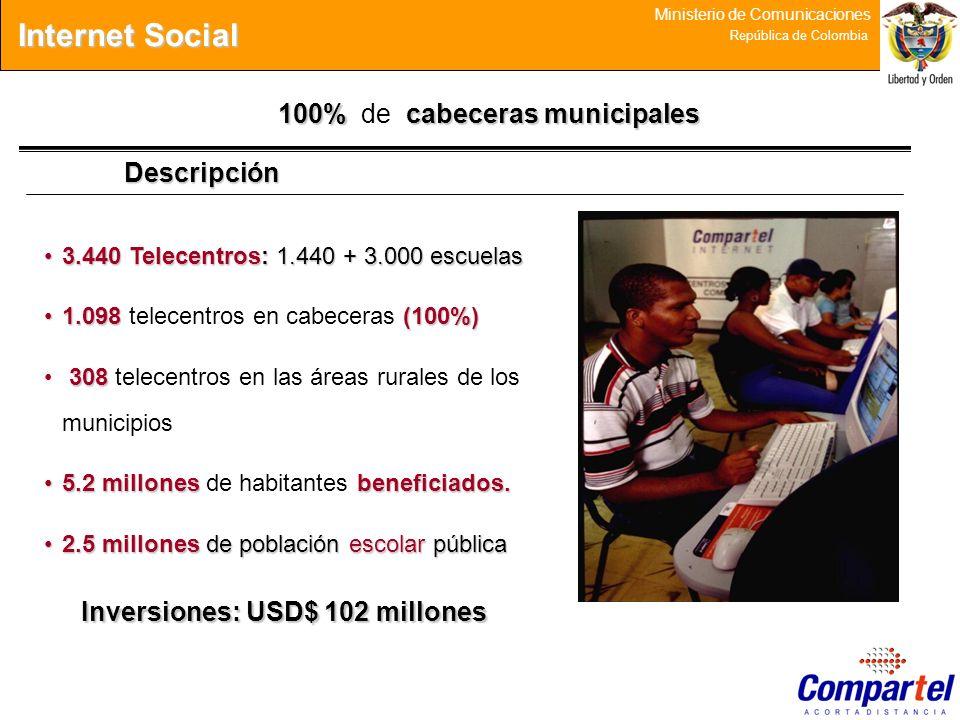 30 Ministerio de Comunicaciones República de Colombia Descripción 100%cabecerasmunicipales 100% de cabeceras municipales 3.440 Telecentros: 1.440 + 3.
