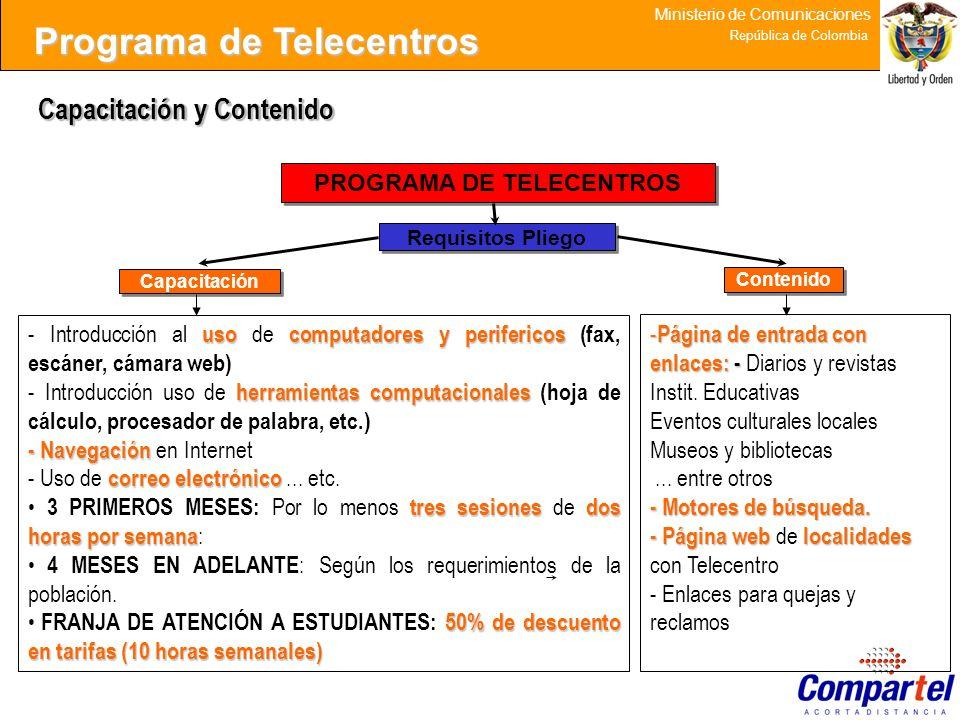 31 Ministerio de Comunicaciones República de Colombia Capacitación y Contenido - Página de entrada con enlaces: - - Página de entrada con enlaces: - D
