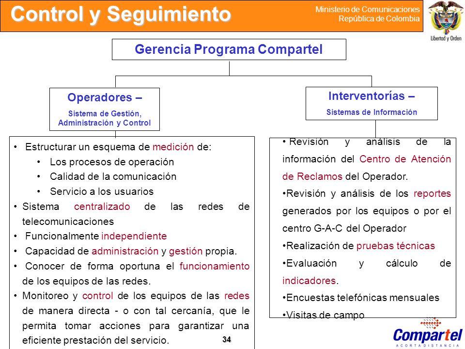 34 Ministerio de Comunicaciones República de Colombia Control y Seguimiento Gerencia Programa Compartel Operadores – Sistema de Gestión, Administració