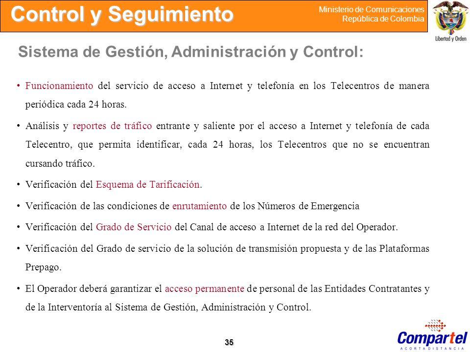 35 Ministerio de Comunicaciones República de Colombia Funcionamiento del servicio de acceso a Internet y telefonía en los Telecentros de manera periód