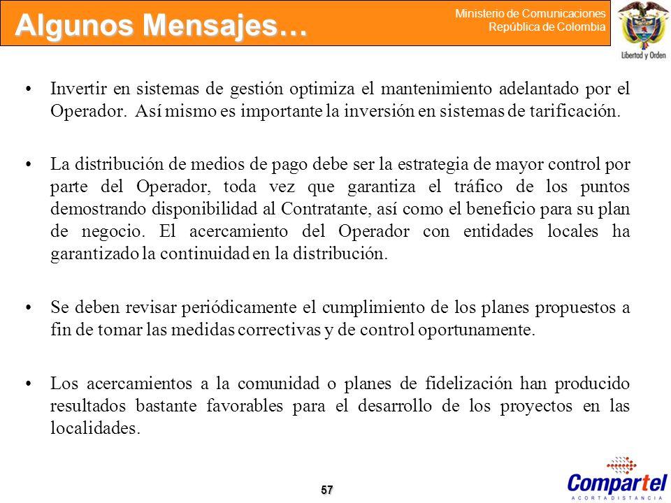 57 Ministerio de Comunicaciones República de Colombia Invertir en sistemas de gestión optimiza el mantenimiento adelantado por el Operador. Así mismo