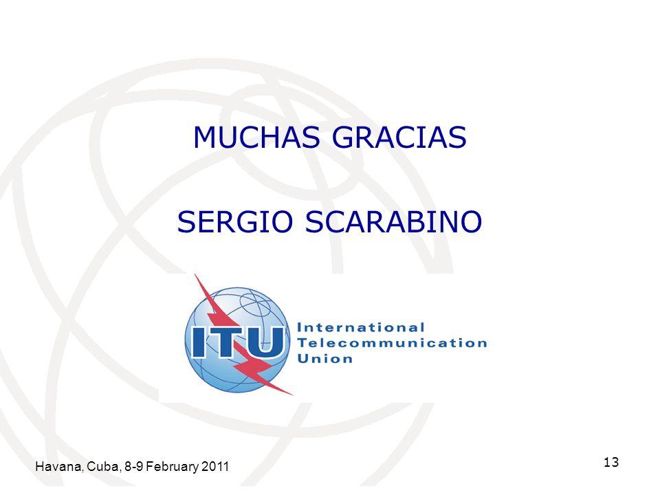 Havana, Cuba, 8-9 February 2011 13 MUCHAS GRACIAS SERGIO SCARABINO