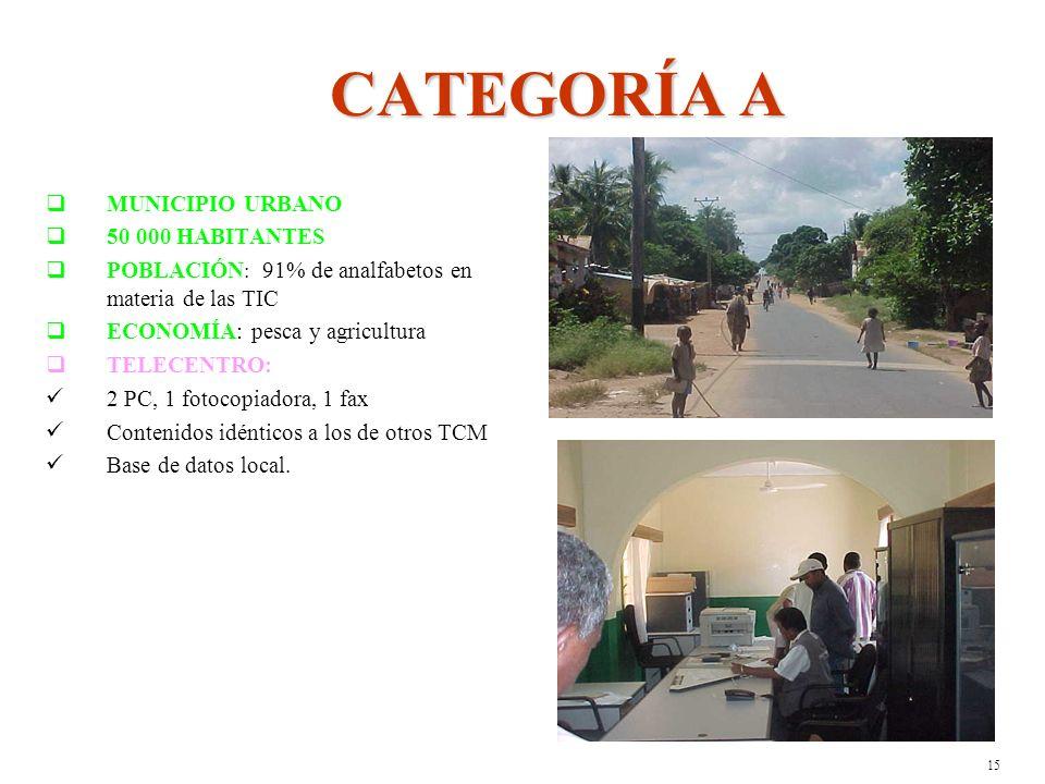 14 CATEGORÍA B MUNICIPIO URBANO 70 000 HABITANTES POBLACIÓN : 82% de analfabetos en materia de las TIC ECONOMÍA: industrias azucarera, minera y agrícola TELECENTRO: 3 PC, 1 fotocopiadora, 1 fax, Contenidos idénticos a los de otros TCM Base de datos local