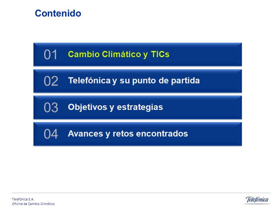 Telefónica S.A. Oficina de Cambio Climático Contenido Cambio Climático y TICs 01 Telefónica y su punto de partida 02 Objetivos y estrategias 03 Avance