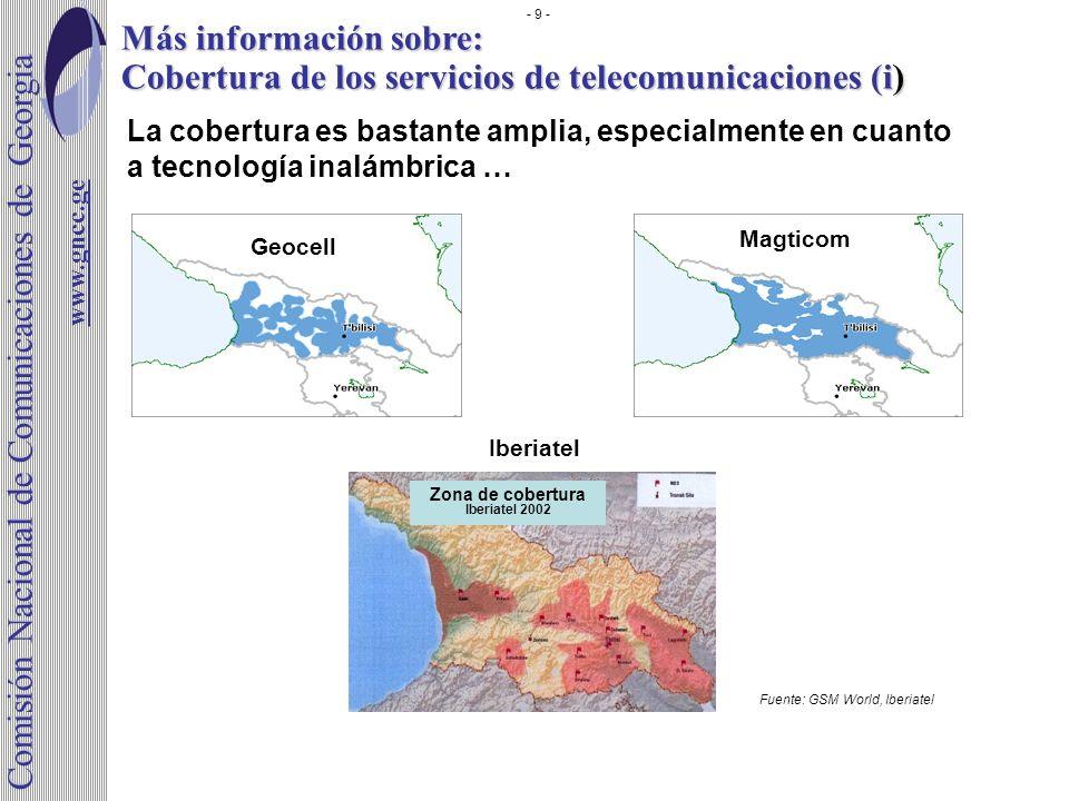 Más información sobre: Cobertura de los servicios de telecomunicaciones (i) La cobertura es bastante amplia, especialmente en cuanto a tecnología inal