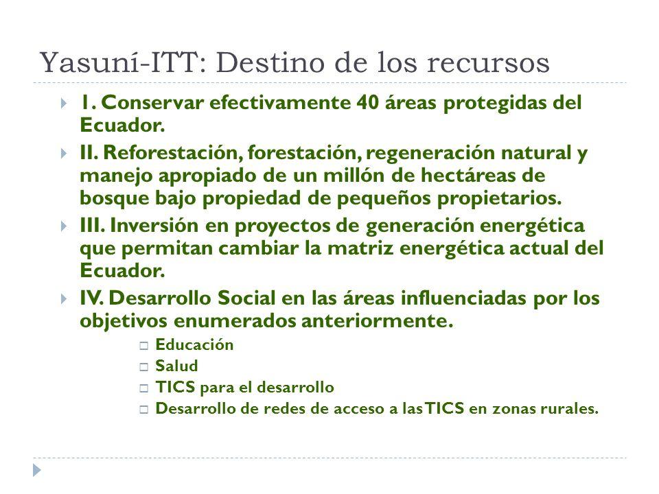 Yasuní-ITT: Destino de los recursos 1. Conservar efectivamente 40 áreas protegidas del Ecuador.