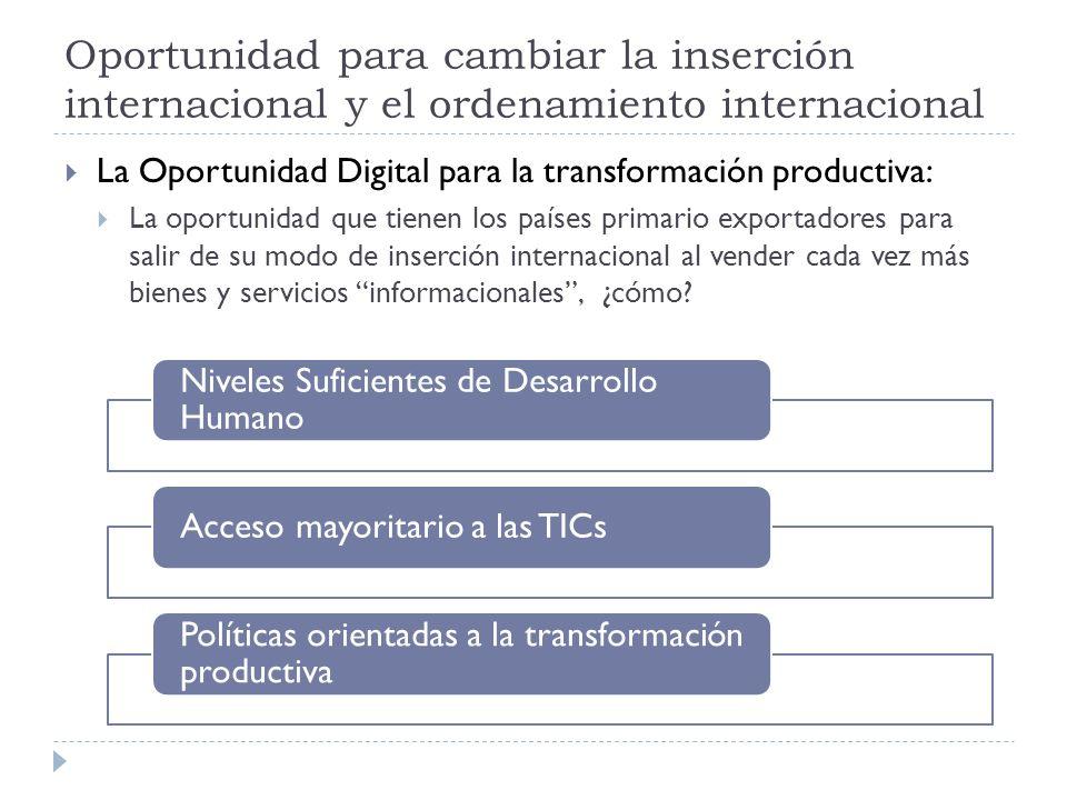 Oportunidad para cambiar la inserción internacional y el ordenamiento internacional La Oportunidad Digital para la transformación productiva: La oportunidad que tienen los países primario exportadores para salir de su modo de inserción internacional al vender cada vez más bienes y servicios informacionales, ¿cómo.