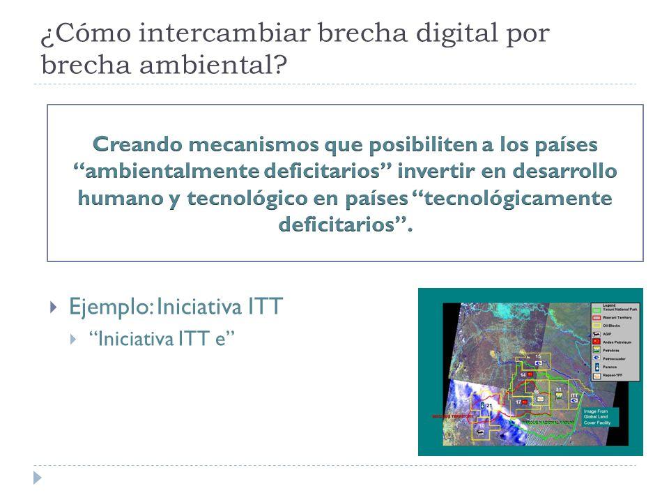 ¿Cómo intercambiar brecha digital por brecha ambiental Ejemplo: Iniciativa ITT Iniciativa ITT e