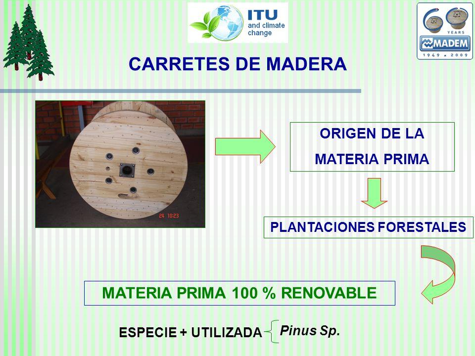 CARRETES DE MADERA PLANTACIONES FORESTALES ORIGEN DE LA MATERIA PRIMA MATERIA PRIMA 100 % RENOVABLE ESPECIE + UTILIZADA Pinus Sp.