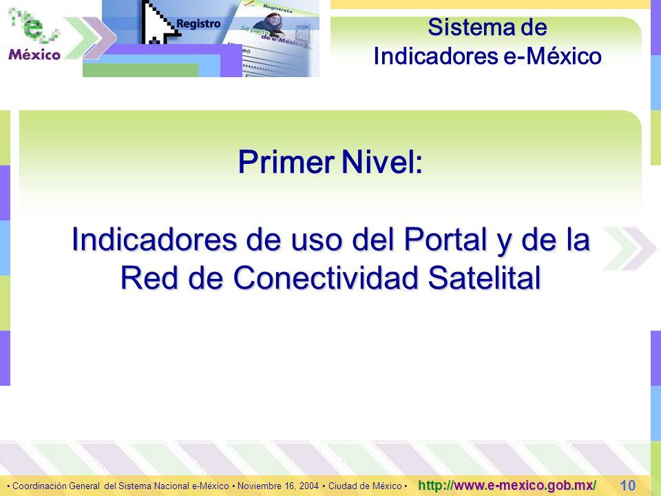 10 Coordinación General del Sistema Nacional e-México Noviembre 16, 2004 Ciudad de México http://www.e-mexico.gob.mx/ Sistema de Indicadores e-México