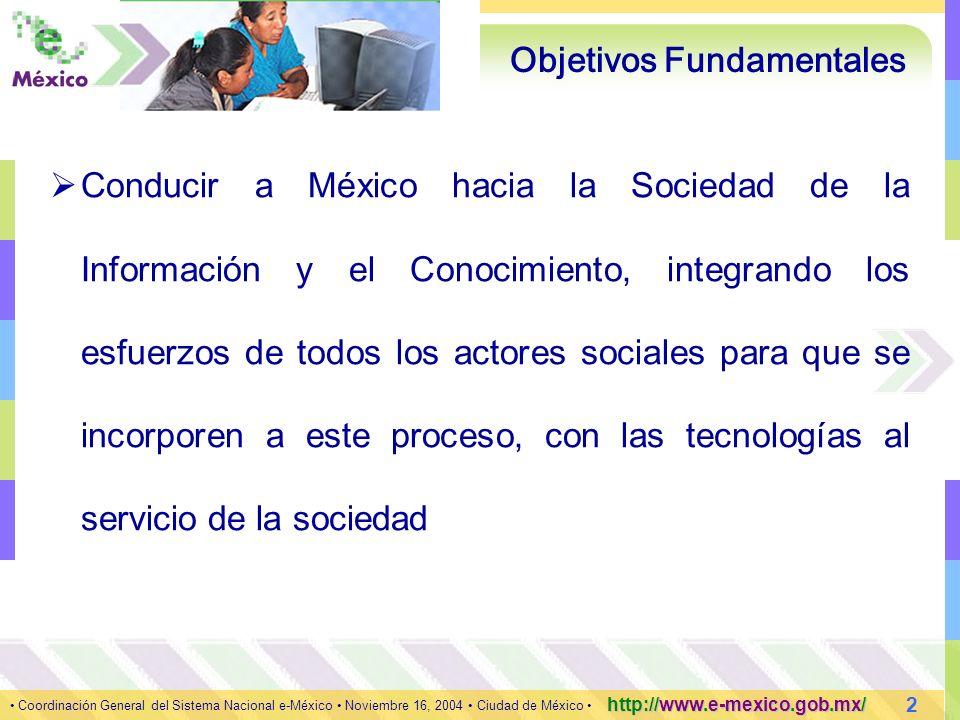 3 Coordinación General del Sistema Nacional e-México Noviembre 16, 2004 Ciudad de México http://www.e-mexico.gob.mx/ Estrategia e-Aprendizaje e-Salud e-Economía e-Gobierno Pilares ConectividadContenidosSistemas Ejes