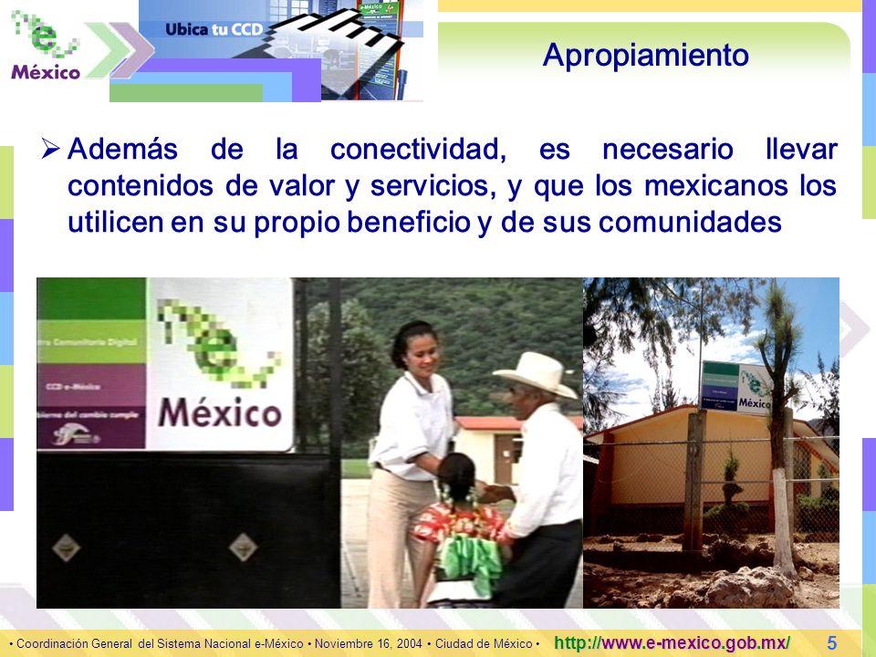 6 Coordinación General del Sistema Nacional e-México Noviembre 16, 2004 Ciudad de México http://www.e-mexico.gob.mx/ Portal e-México http://www.e-mexico.gob.mx/ Su objetivo contribuir en la formación de la Sociedad de la Información y el Conocimiento en nuestro país, mediante la difusión de la cultura digital con un enfoque social e incluyente Área de Información Octubre 2004 Contenidos Páginas Desplegadas Pilares1,503389,866 Comunidades1,571294,951 Otros Portales1,729136,509 Canales y secciones1,092408,696 Página Principal*n/a317,548 5,8951547,570 *n/a.- No Aplica