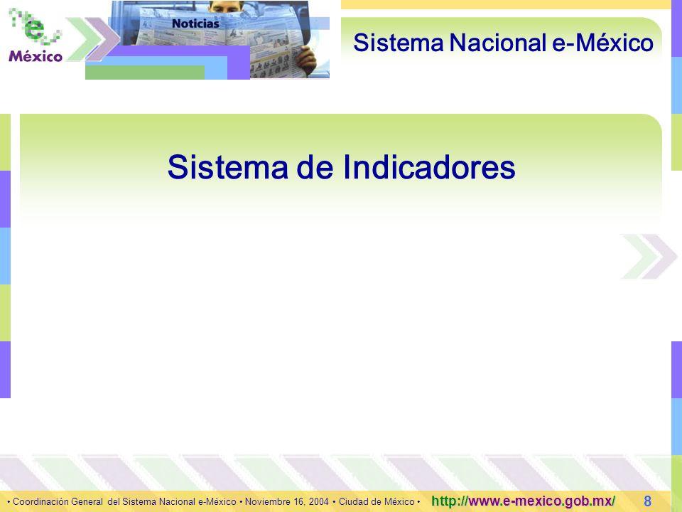 8 Coordinación General del Sistema Nacional e-México Noviembre 16, 2004 Ciudad de México http://www.e-mexico.gob.mx/ Sistema Nacional e-México Sistema