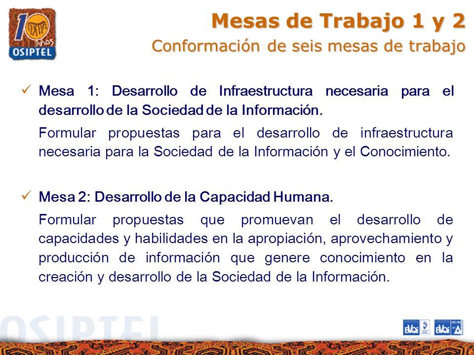 Mesas de Trabajo 1 y 2 Conformación de seis mesas de trabajo Mesa 1: Desarrollo de Infraestructura necesaria para el desarrollo de la Sociedad de la I
