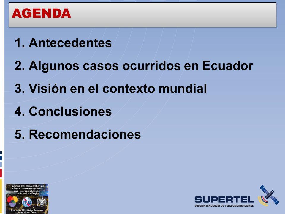 1.Antecedentes 2.Algunos casos ocurridos en Ecuador 3.Visión en el contexto mundial 4.Conclusiones 5.Recomendaciones AGENDA