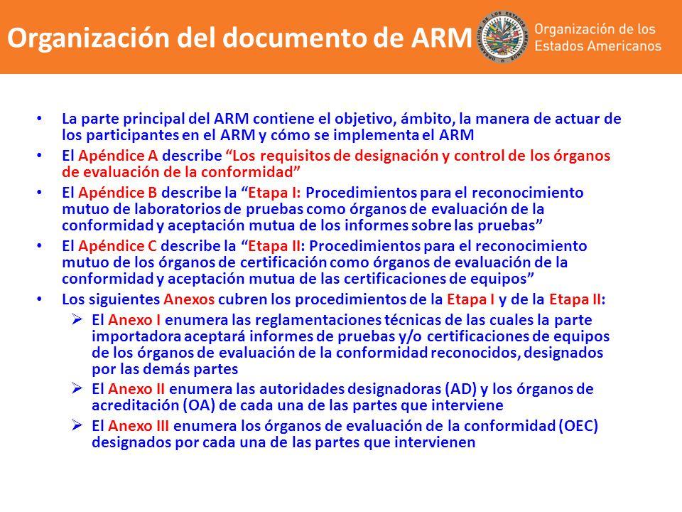 Organización del documento de ARM La parte principal del ARM contiene el objetivo, ámbito, la manera de actuar de los participantes en el ARM y cómo s