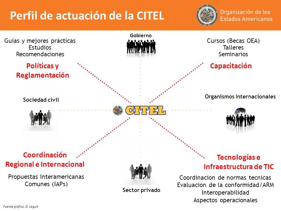 Gobierno Coordinación Regional e Internacional Políticas y Reglamentación Capacitación Tecnologías e Infraestructura de TIC Organismos Internacionales