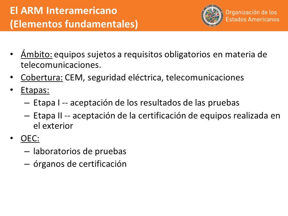El ARM Interamericano (Elementos fundamentales) Ámbito: equipos sujetos a requisitos obligatorios en materia de telecomunicaciones. Cobertura: CEM, se