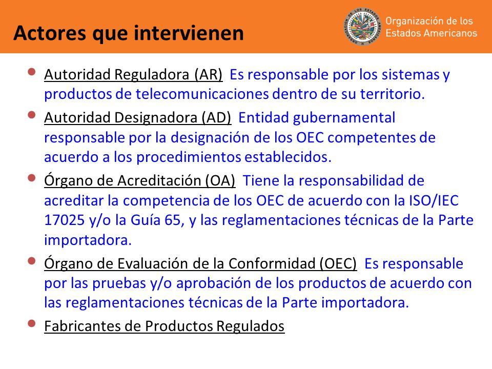 Actores que intervienen Autoridad Reguladora (AR) Es responsable por los sistemas y productos de telecomunicaciones dentro de su territorio. Autoridad
