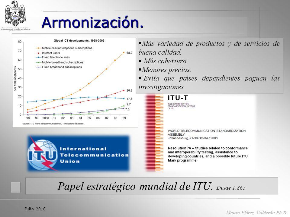 Mauro Flórez Calderón Ph.D Acciones en TICs Servicios masivos de calidad Reglamentos. Procedimientos evaluación conformidad Armonización.