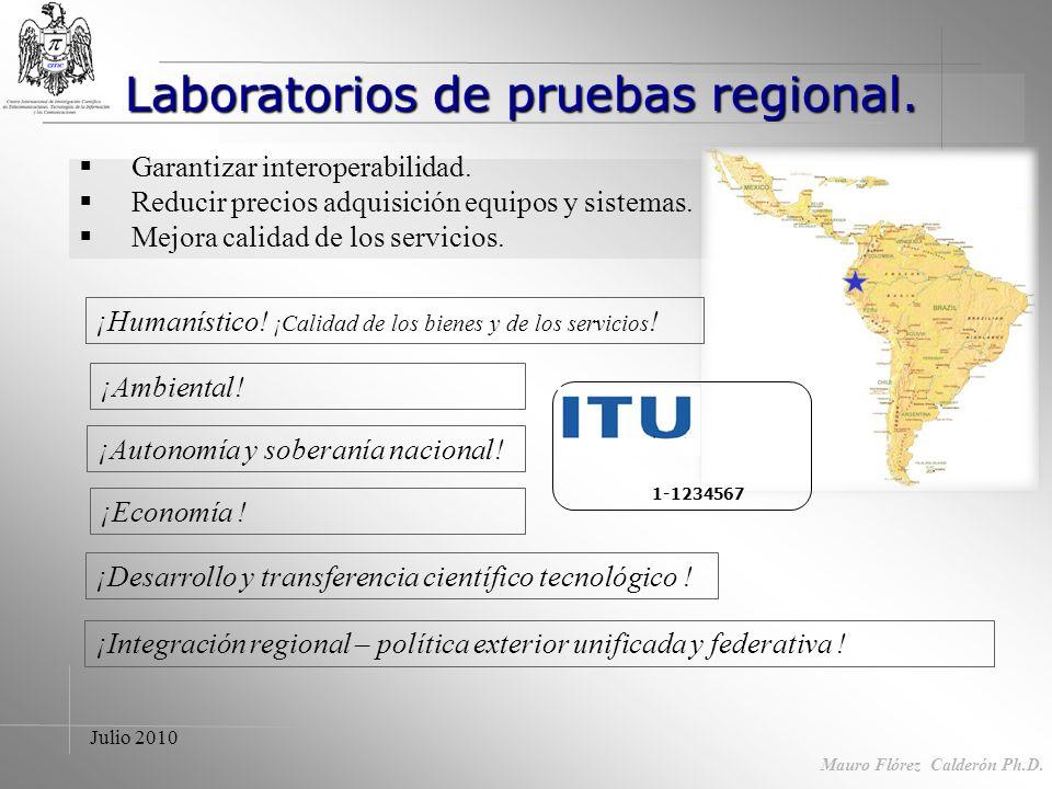 Julio 2010 Acciones II- Fortalecimiento de centro de prueba regional Mauro Flórez Calderón Ph.D. I - Capacitación de recursos humanos y fortalecimient
