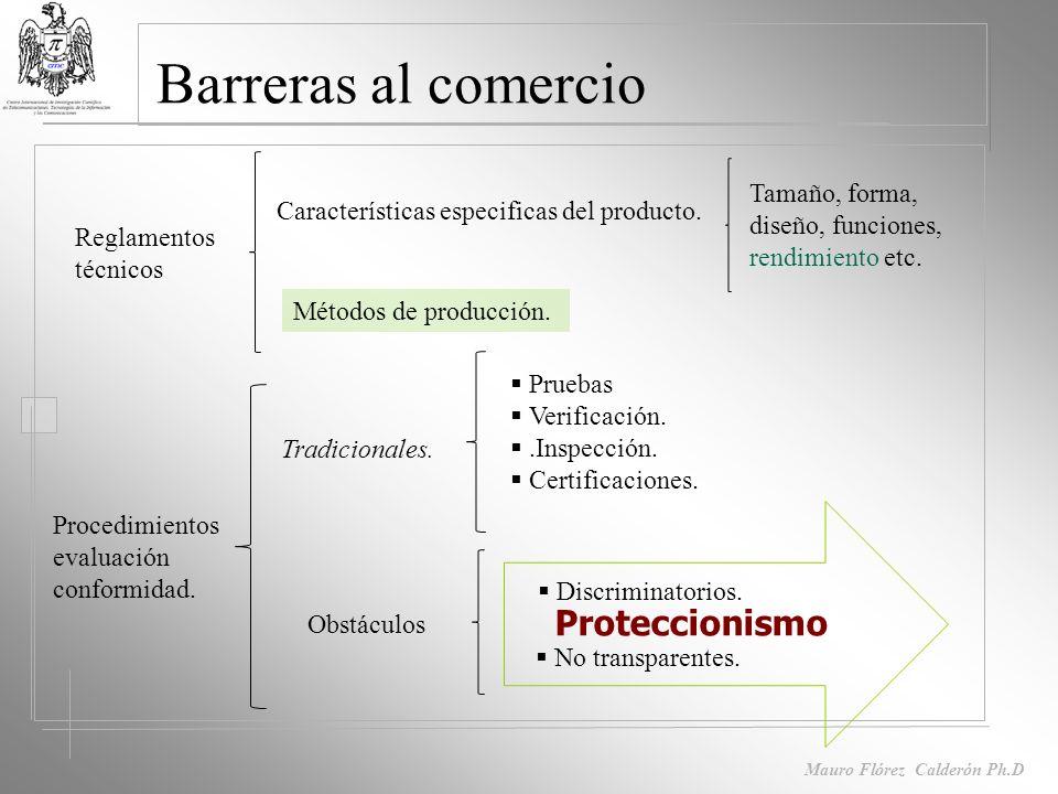 Mauro Flórez Calderón Ph.D Barreras al comercio Arancelarias. Impuestos. No arancelarias Visas. No reconocimiento de títulos profesionales. Obstáculos